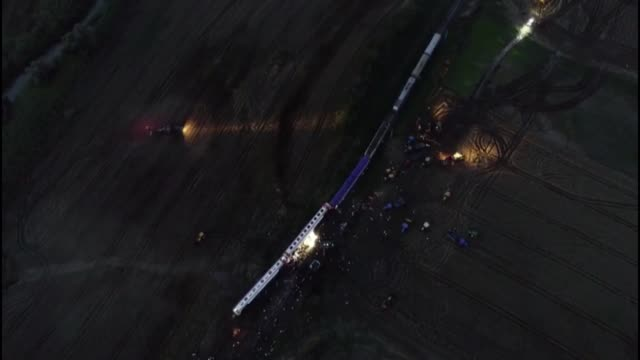 various aerial shots of the scene after several bogies of a passenger train derailed at the sarilar village of tekirdag's corlu district on july 08,... - 脱線点の映像素材/bロール
