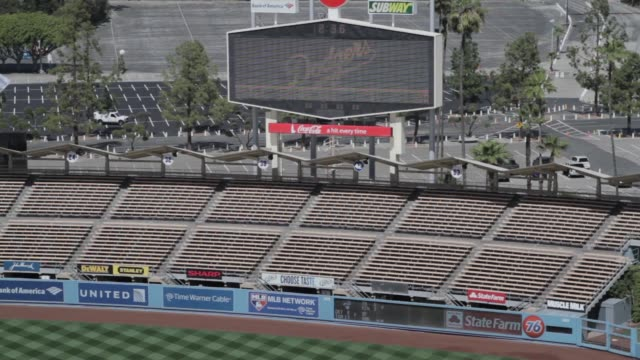 Various angles and views of the inside of Dodgers Stadium / empty bleacher seats / Welcome to Dodgers Stadium signage / bleacher seats Dodgers...