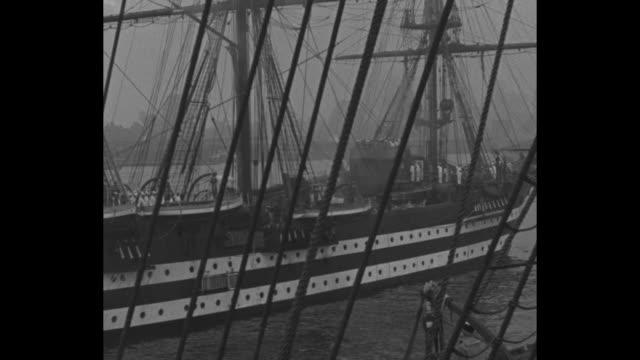 various angles of both ships the cristoforo colombo and amerigo vespucci sailing down the hudson river / sailors crawling up the rigging / ws ship... - christoph kolumbus stock-videos und b-roll-filmmaterial
