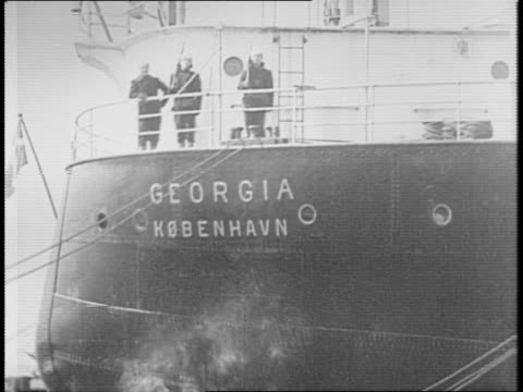 various angles of coast guard patrolling in front of danish ship 'olympia danmark' in bayonne nj / coast guard aboard danish ship 'georgia kobenhavn'... - anno 1941 video stock e b–roll