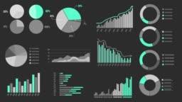 Various Animated Infographics Charts as HUD head-up display