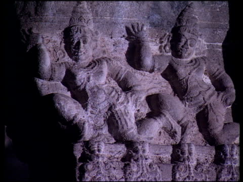 various architectural features of ekambareswarar temple with statues representing scenes from hindu mythology kanchipuram - hinduism stock videos & royalty-free footage