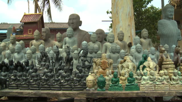 various buddhist sculptures in san tok, cambodia - ancient stock videos & royalty-free footage