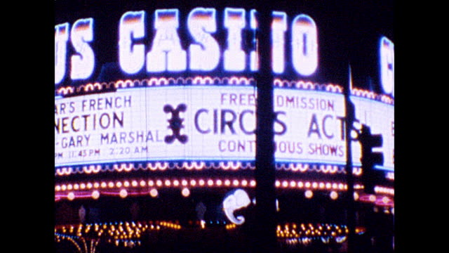 various casinos at night along the las vegas strip - 1960 1969 stock videos & royalty-free footage