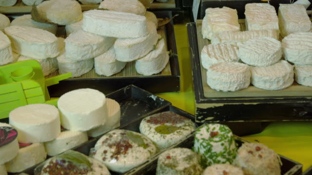 CU TU various cheeses in display in cheese shop
