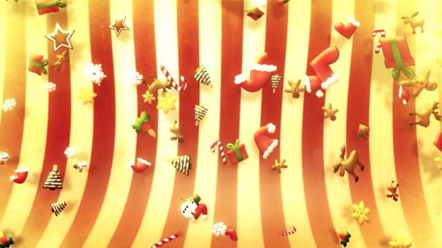 vídeos y material grabado en eventos de stock de varios navidad símbolos caída de bucle (rojo) - galleta dulces