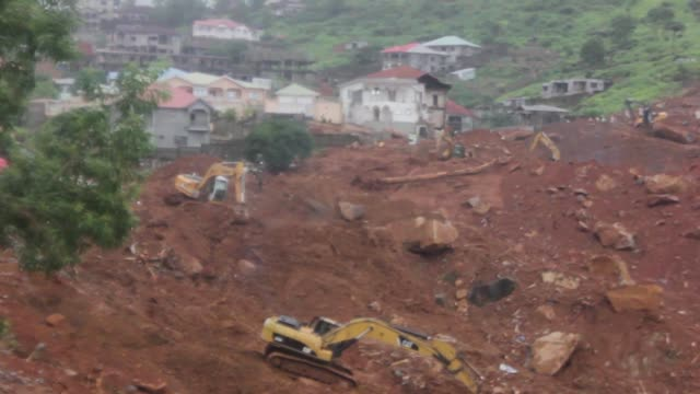 Various clean images showing the aftermath of the mudslide in Sierra Leone that claimed more than 300 lives