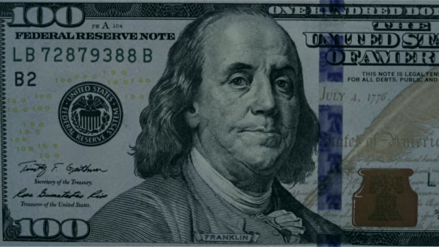 various close up shots and panning shots of a american one hundred dollar bill close up shots focus on the portrait of benjamin franklin on the one... - benjamin franklin stock videos & royalty-free footage