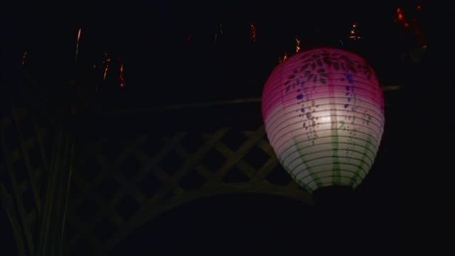 ms various colored japanese lanterns hanging in space - anno 1957 video stock e b–roll