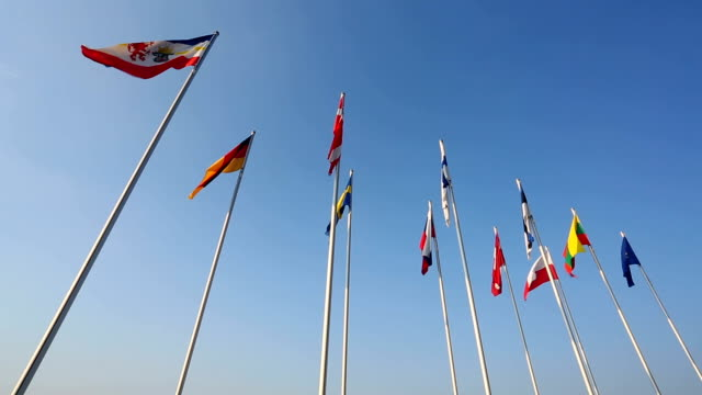 various country flags from the baltic states - baltic sea stock videos and b-roll footage