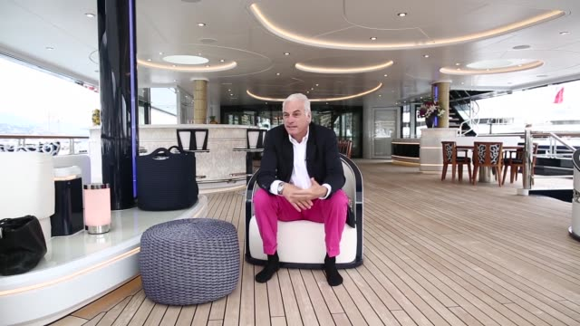 Various cutaway shots Peter Lurssen chief executive officer of Lurssen Werft GmbH Co KG speaks during a Bloomberg Television interview on board the...