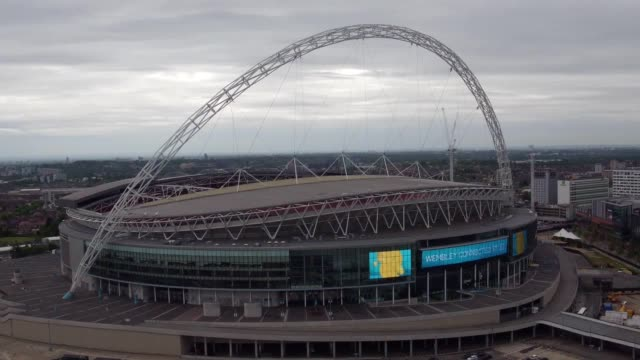 Various drone shots of Wembley stadium both from outside the grounds and on the pitch inside the stadium