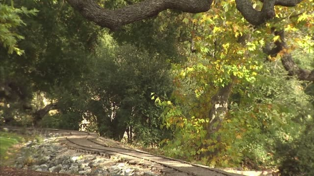 various exterior scenic shots of the neverland ranch property grounds in los olivos, california, a tilt up shot of train tracks leading into a wooded... - ネバーランドバレーランチ点の映像素材/bロール