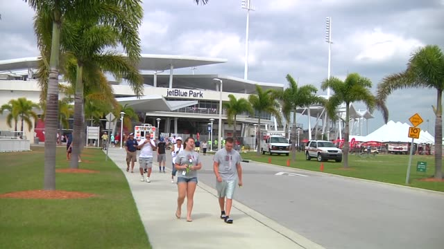 vídeos y material grabado en eventos de stock de various exterior shots of jetblue park at fenway south, the boston red soxs spring training facility, in fort meyers, florida on march 23 a wide shot... - fan palm tree