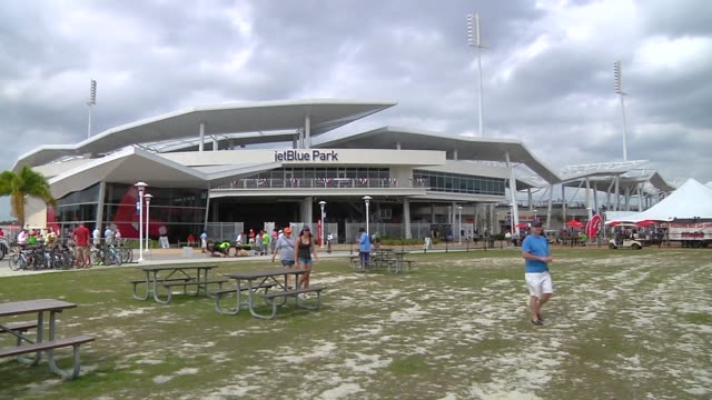 Various exterior shots of JetBlue Park at Fenway South the Boston Red Soxs spring training facility in Fort Meyers Florida on March 23 Wide exterior...