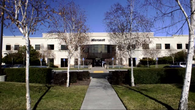various exteriors of microsoft headquarters / logos and signage microsoft headquarters on january 17, 2012 in california - headquarters stock videos & royalty-free footage