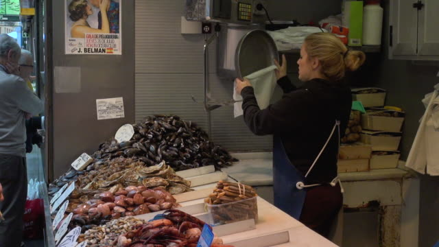 various fish and seafood sold at food market - variation stock videos & royalty-free footage