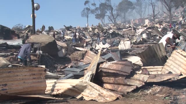 Various footage from Hout Bay town of Cape Town South Africa after a fire spread through a township on March 11 2017 Over 2000 people are homeless...