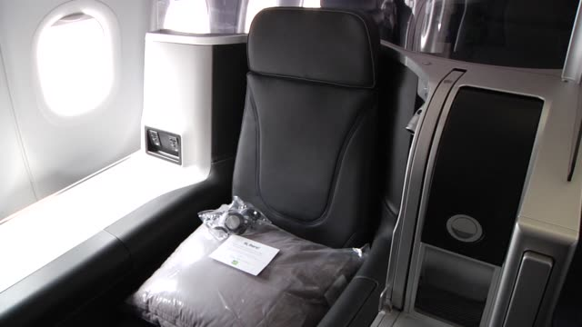 Various interior shots of a new JetBlue airplane including the new JetBlue Mint Business Class at JFK airport in New York New York Medium shots of...