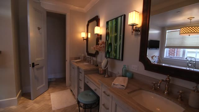 various interior shots of luxury homes and furnishings in manhattan beach california wide panning shots of a modern bathroom - bagno video stock e b–roll