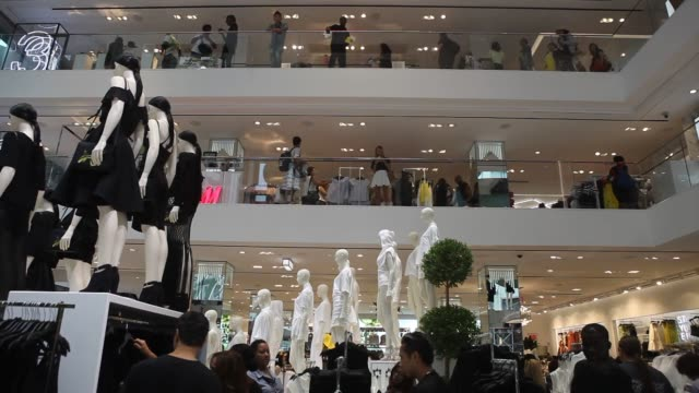 Various interior shots of the worlds largest flagship HM store in New York City on opening day A wide interior shot of the various upper floors and...