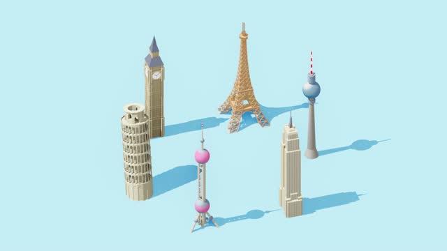 various landmark buildings - tower stock-videos und b-roll-filmmaterial