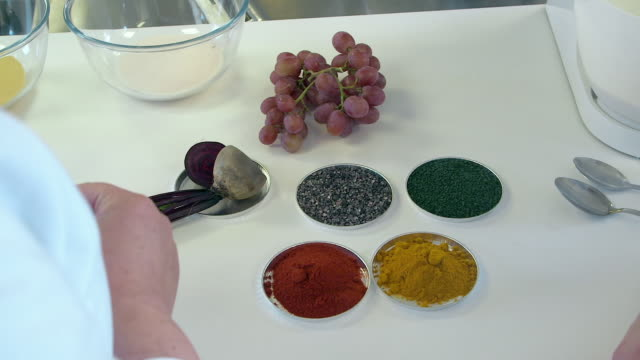 various natural food colourings in a lab - food stock videos & royalty-free footage