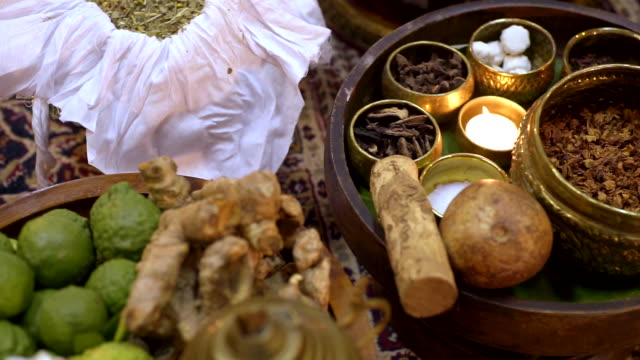 Various of herbs and spa ingredients of herbal for spa treatment.