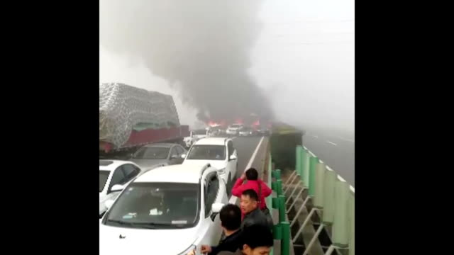 various of the accident storyline: at least 18 people were killed on wednesday in an expressway pile-up involving dozens of vehicles in east china's... - china east asia stock videos & royalty-free footage