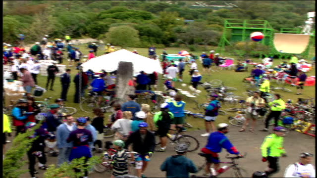 various overhead shots of crowd of bike riders before a race malibu california - 1995 stock-videos und b-roll-filmmaterial
