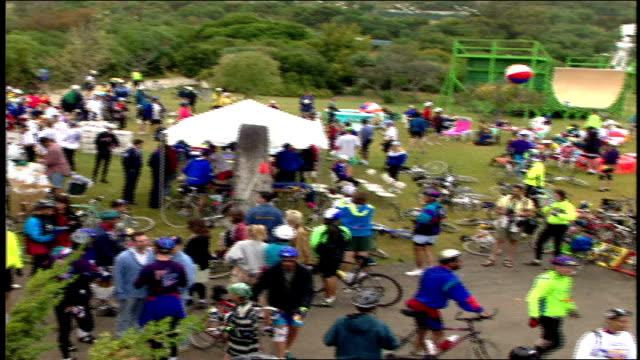 Various Overhead Shots of Crowd of Bike Riders Before a Race Malibu California