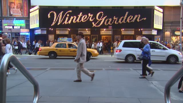 various pans of the front exterior of the winter garden theater in midtown manhattan winter garden theater exteriors on september 20 2010 in new york... - broadway manhattan video stock e b–roll