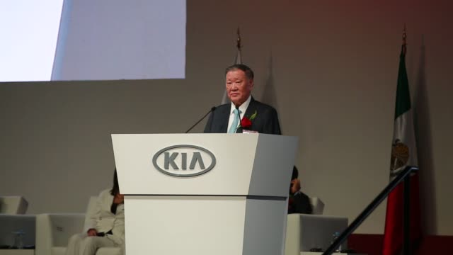 stockvideo's en b-roll-footage met various people deliver speaches during the kia motors new production plant opening ceremony in monterrey, nuevo leon, mexico on september 7 shots:... - plant stage