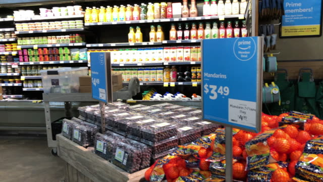 various products at the amazon's whole foods grocery store in chattanooga tennessee amazon bought whole foods for $132 billion in 2017 and has over... - organic stock videos & royalty-free footage