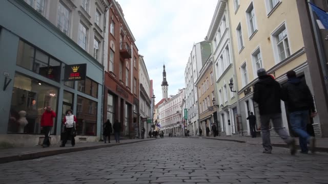 Various scenes around the town of Tallinn / tourists and people walking around cobblestone streets Estonia Street Scenes on November 14 2011 in...