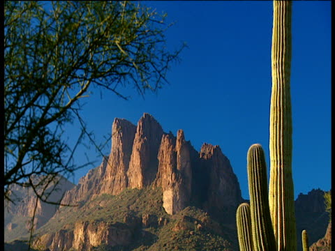 various scenes of red rock cliffs of gold canyon - barrel cactus stock videos and b-roll footage