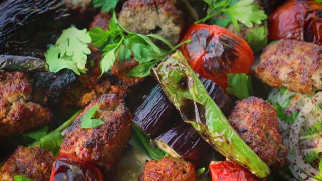 various shish kebab as turkish cuisine - skewer stock videos & royalty-free footage