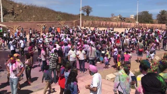 stockvideo's en b-roll-footage met various shot as people celebrate the holi fest festival of colors in dakar senegal on march 24 2019 - holi phagwa