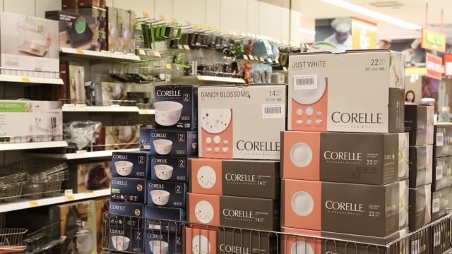 various shots a customer looks at kitchen products in the homeware department of an emart co store a subsidiary of shinsegae co in seoul south korea... - homeware stock videos and b-roll footage