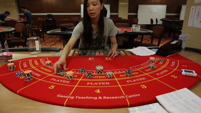 various shots a student handles gaming chips while learning the game of blackjack at the macao polytechnic institute mpi gaming teaching and research... - blackjack stock videos and b-roll footage