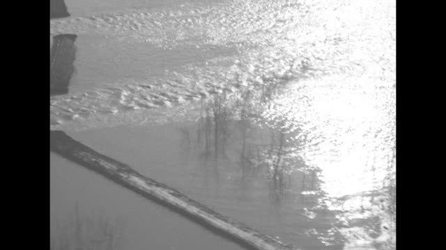various shots aerial flood water up to sea wall / wpa workers sandbagging levee / workers filling bag / workers on maybe makeshift dock / prisoners... - wpa stock videos & royalty-free footage