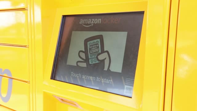 various shots amazon.com inc pickup and collect lockers at newbury park railway station in newbury park, uk, on wednesday, july 23, 2014 - locker stock videos & royalty-free footage