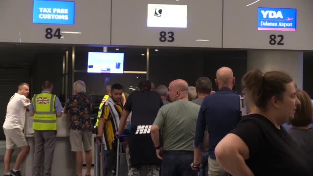 various shots as british tourists arrive at dalaman airport in turkey's southwestern mugla province to return their country after iconic tour... - mugla province stock videos & royalty-free footage