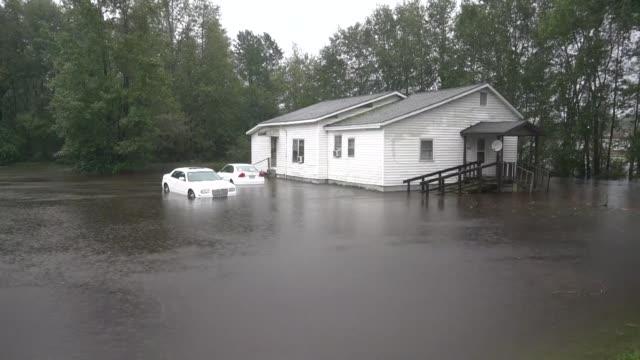 Various shots as Hurricane Florence hits Duplin County North Carolina the United States on September 15 2018