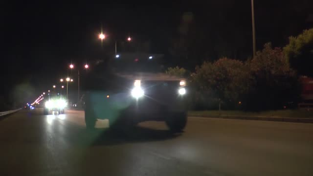 various shots as military vehicles belonging to the turkish army are seen on their way to syrian border in turkey's southern hatay province on... - hatay stock videos & royalty-free footage