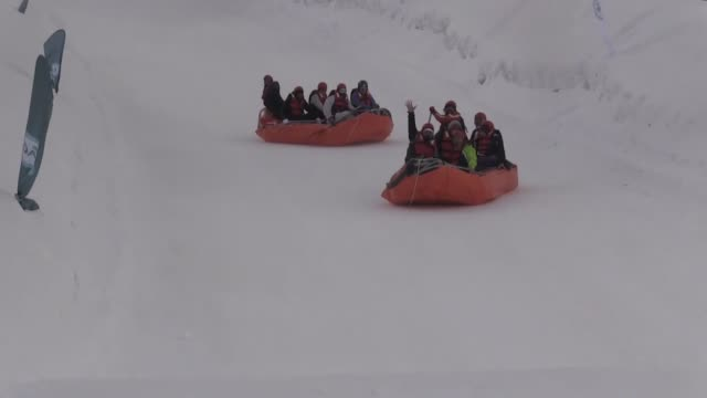 various shots as the ambassadors of 37 foreign missions in turkey enjoy rafting on snow in northeastern kars province within ministry of industry and... - kars stock videos & royalty-free footage
