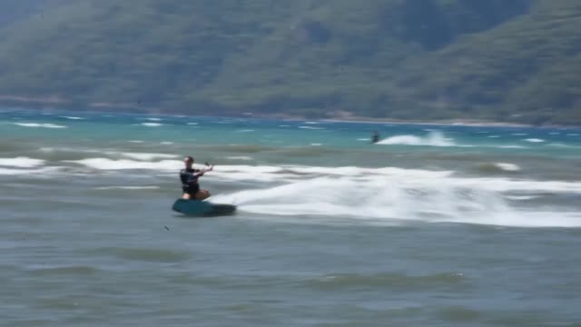 various shots as world kiteboard championship 2018 continues in akcapinar coast of turkey's southwestern mugla province on september 07 2018... - kiteboarding stock videos & royalty-free footage