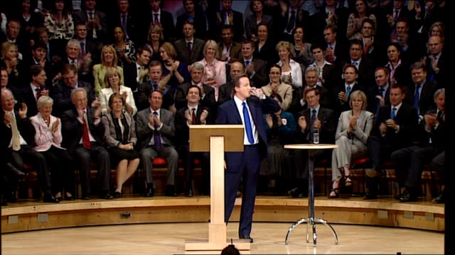 various shots cameron on stage at conservative party conference 2008 david cameron mp speech sot - it's not just the crime or even the anti-social... - all around competition stock videos & royalty-free footage
