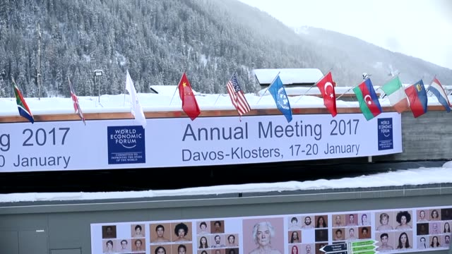 various shots form davos switzerland on january 16 2017 ahead the opening day of the 47th annual meeting of the world economic forum - jahreshauptversammlung stock-videos und b-roll-filmmaterial