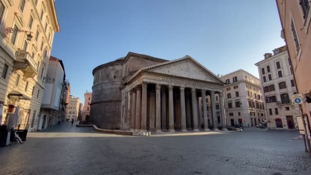 various shots from a deserted piazza della rotonda by the pantheon monument on march 20, 2020 in rome as lockdown continues.as the number of total... - rome italy stock-videos und b-roll-filmmaterial